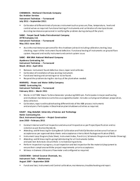resume format for instrument technician instrument technician resume format resume instrument
