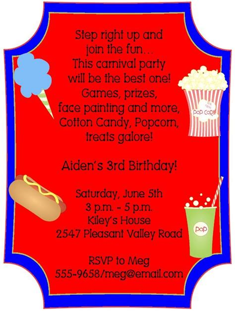 carnival themed birthday invitations 17 best images about carnival birthday party on pinterest
