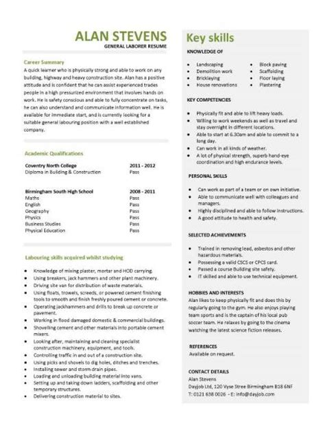 Resume Templates General Labourer Construction Cv Template Description Cv Writing Building Curriculum Vitae Exles