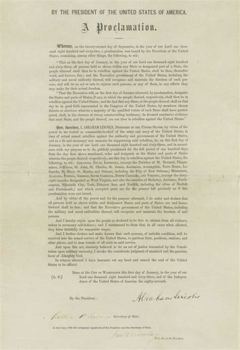 NMAH | Albert H. Small Documents Gallery - America's New ... Emancipation Proclamation Actual Document