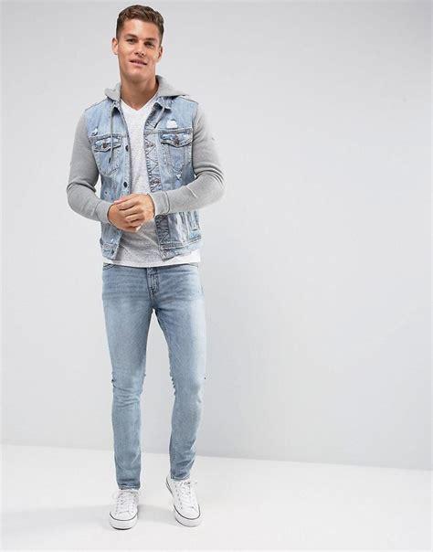 Ricks Clothing T Shirt Lengan Panjang Hollister Southern Calif Putih lyst hollister holliser denim jacket with jersey sleeves and in blue for