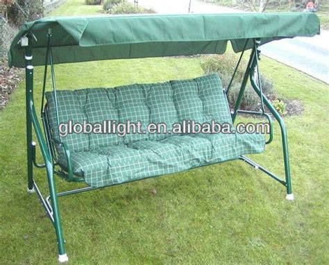 ace hardware porch swing tubular 3 seater garden swing chair with cushion green