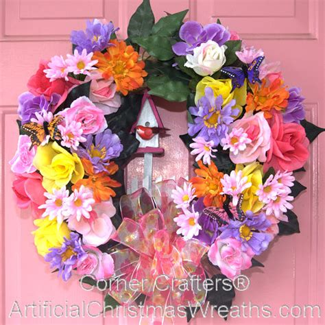 spring butterfly wreath artificialchristmaswreaths com birdhouse butterfly wreath artificialchristmaswreaths