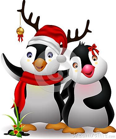 cute penguin christmas cartoon couple  love royalty  stock photography image