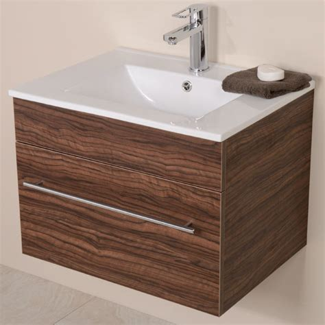 walnut vanity units for bathroom aspen 600 wall mounted walnut vanity unit