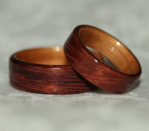 Wooden Wedding Rings by Wooden Wedding Rings With Liner Custom Woods Of Your Choice