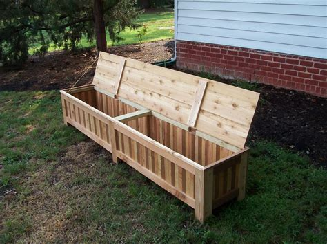 made custom western cedar patio storage bench by