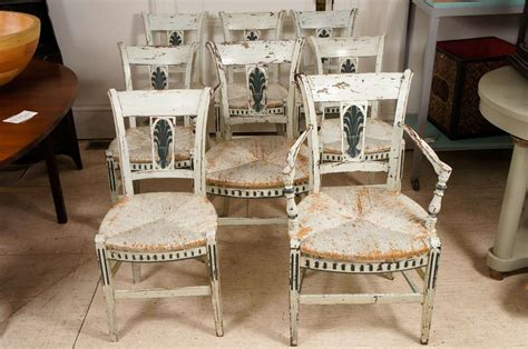 french provincial green painted dining room chairs