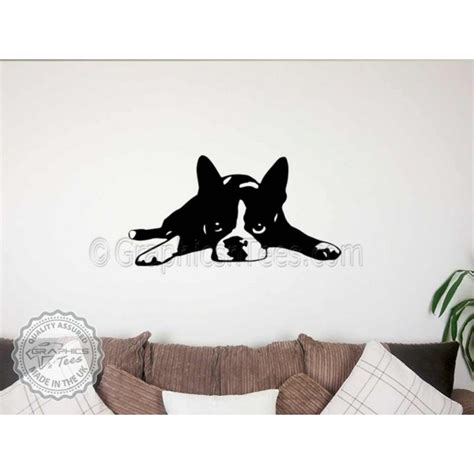 puppy wall stickers boston terrier puppy lying wall sticker vinyl mural