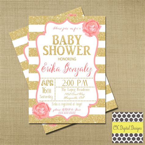Pink And Gold Baby Shower by Pink And Gold Baby Shower Invitation