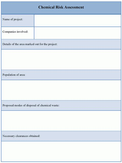 assessment template for chemical risk exle of chemical