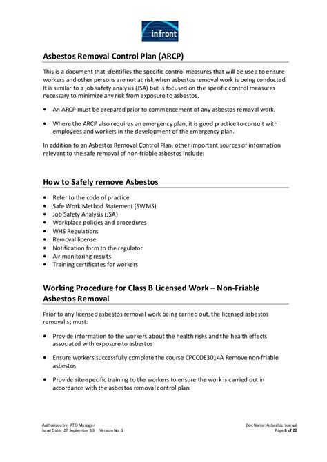 Asbestos Workbook Asbestos Abatement Plan Template