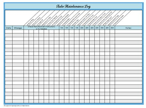 Free Vehicle Maintenance Log Template free mens printable workout routine information on happy