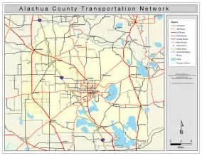 alachua county florida map alachua county road network color 2009