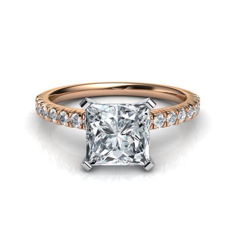 pave diamonds cut pave engagement ring