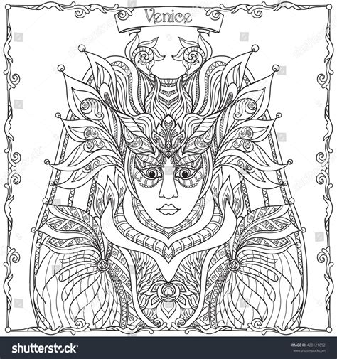 venetian masks coloring book for adults venetian mask carnival costume outline stock vector