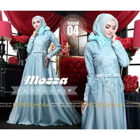 Mozza Dusty mozza 4 s blue baju muslim gamis modern