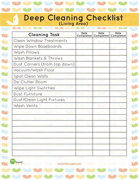 living room cleaning checklist printable living area deep cleaning checklist mom it