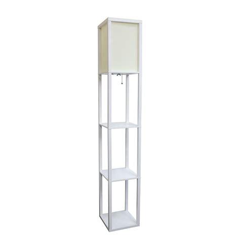 simple designs 63 3 in etagere black floor l organizer storage shelf with linen shade lf1014