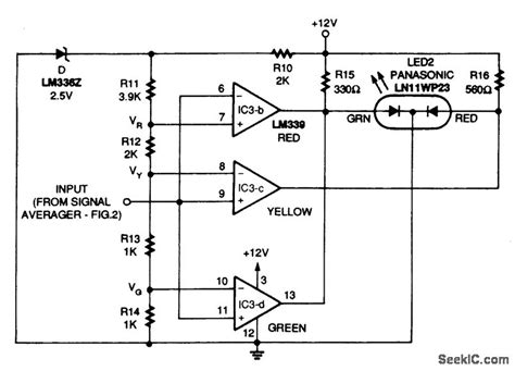 led voltage indicator circuit tricolor led peak indicator circuit led and light circuit circuit diagram seekic