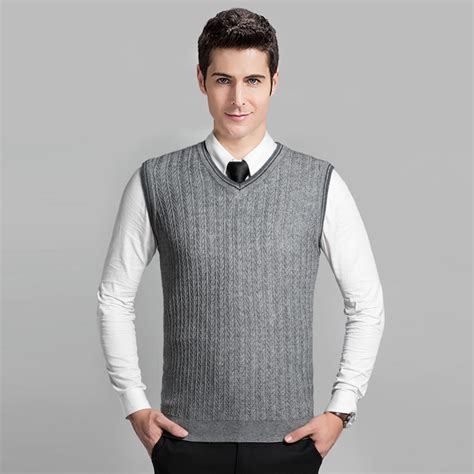Knitting Pattern Mens Sleeveless Vest | 2016 latest style fashion grey v neck sleeveless knitting