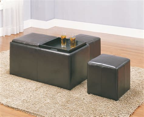 Claire Storage Bench With 2 Ottomans Trays From Ottomans With Storage And Trays