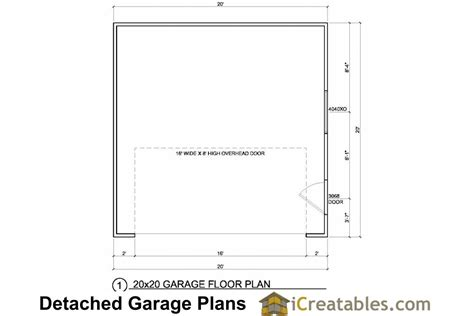 garage door floor plan 20x20 2 car 1 door detached garage plans