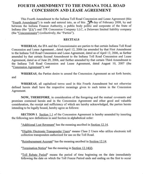 concession agreement template concession agreement templates 9 free word pdf format