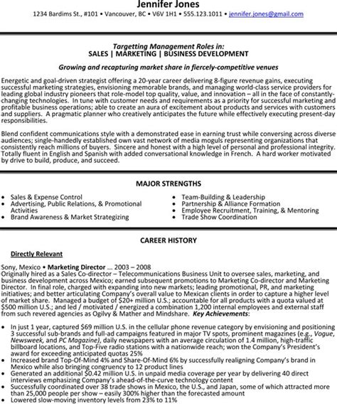 Franchise Development Manager Sle Resume by Sales Marketing And Business Development Director Resume Sle Resume Sles
