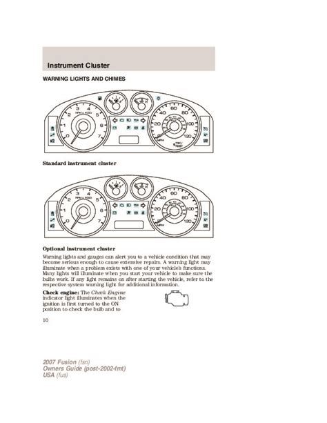 online service manuals 2008 ford fusion instrument cluster 2007 ford fusion owners manual