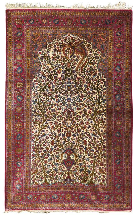 silk prayer rug a kashan silk prayer rug central lot sotheby s