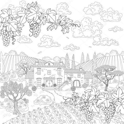 imagenes de uvas en blanco y negro dibujos animados de paisaje contorneada con ramas de