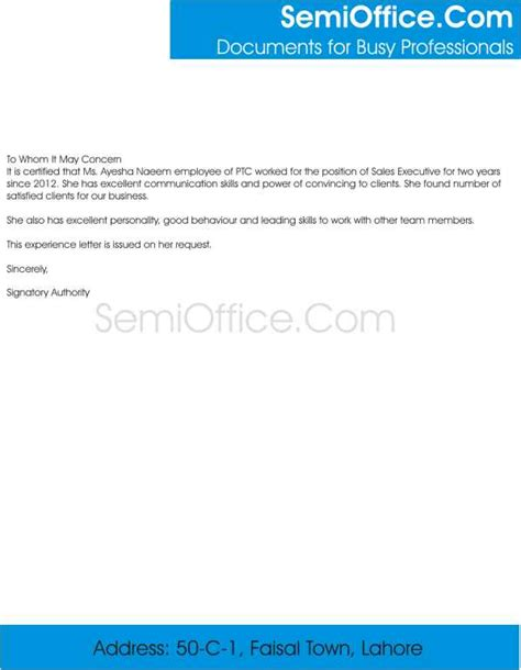 Work Experience Letter Sle Experience Letter For Sales Executive Free
