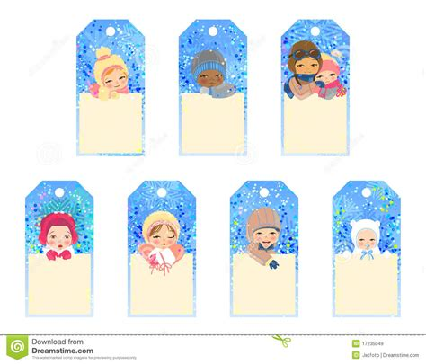 printable children s gift tags set of gift tags with kids stock vector image of frame