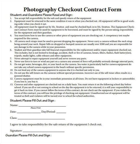 free photography contract templates photography contract template 18 free word pdf