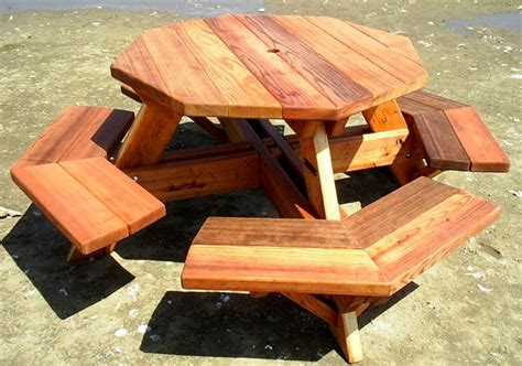 octagon wood picnic table object moved