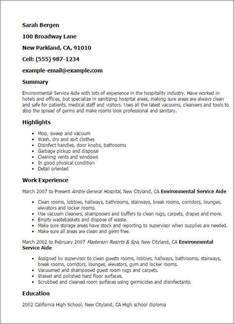 Resume Exles For Environmental Professional Environmental Service Aide Templates To Showcase Your Talent Myperfectresume
