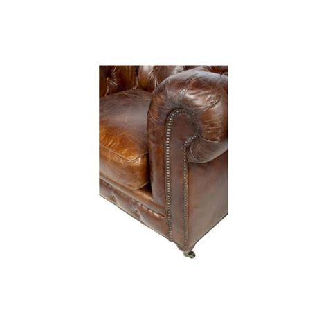 canap 233 3 places chesterfield cuir marron vintage classique