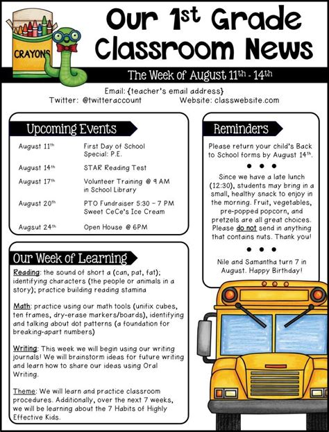 Parent Newsletter Template 25 best ideas about school newsletters on