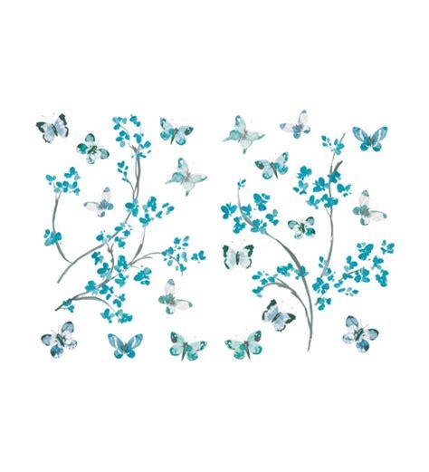 imagenes mariposas turquesas vinilo adhesivo rama con florecillas y mariposas turquesas