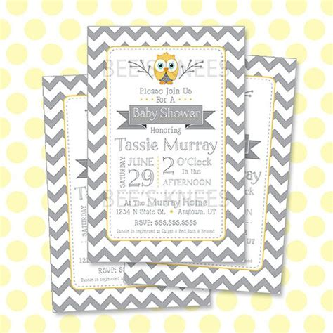 Yellow And Grey Owl Baby Shower by Owl Baby Shower Invitation Printable Yellow Grey Chevron