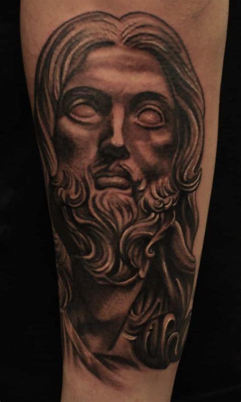 black jesus tattoos forearm black and grey jesus chronic ink