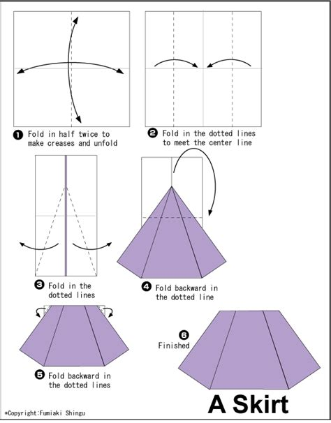 Origami Clothes - easy origami skirt origami clothes accessories