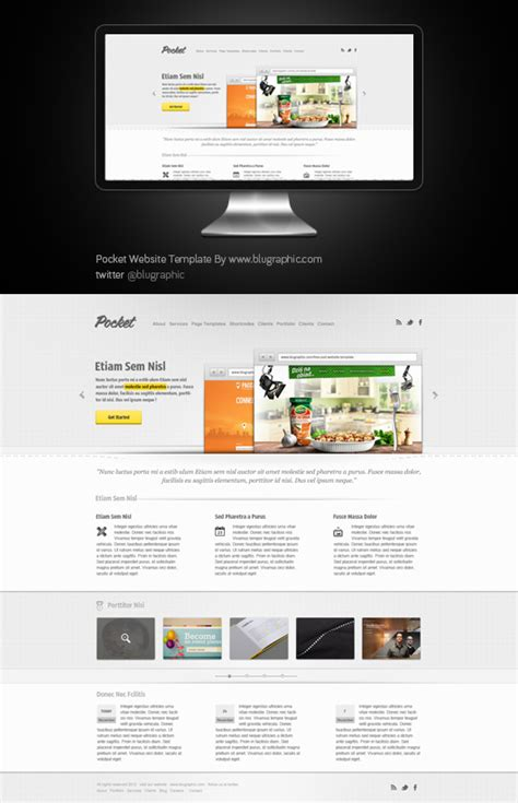 Theme Template pocket website theme template psd
