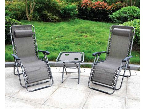 garden reclining chairs 3 piece gravity textoline chair table set garden reclining
