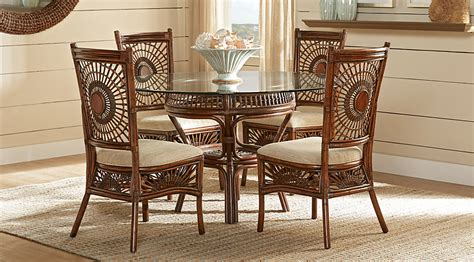 island brown rattan 5 pc dining set dining room sets wood Rattan Dining Room Furniture