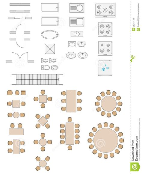 Simple Room Layout Tool standard symbols used in architecture plans stock vector