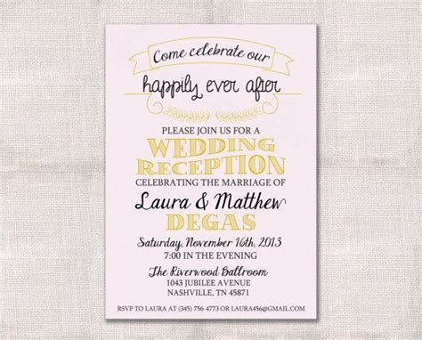Wedding Reception, Celebration, After Party Invitation Custom Printable 5x7   Receptions, Cute