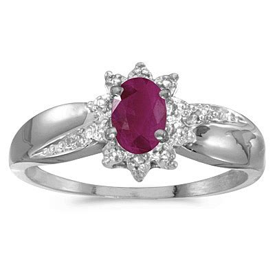 Ruby 7 55ct ruby right flower shaped ring 14k white