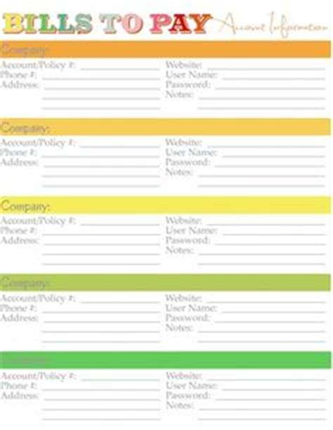 list of bills to pay template emergency prep class on emergency binder